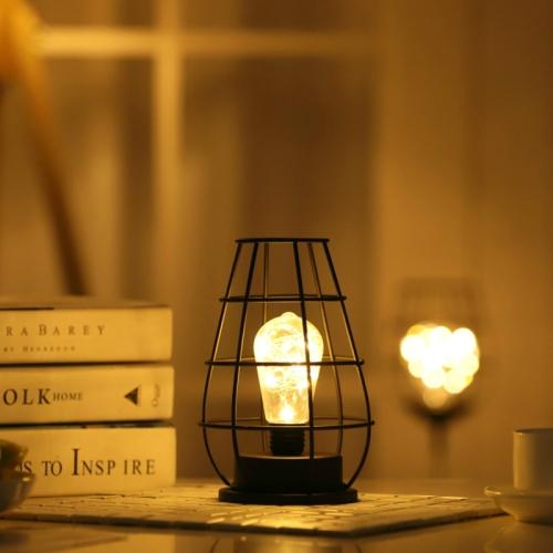Retro Classic Iron Art LED Table Lamp Reading Lamp Night Light Bedroom Lamp Desk Lighting Home Decoration, Lampshade Style:Separate Jug