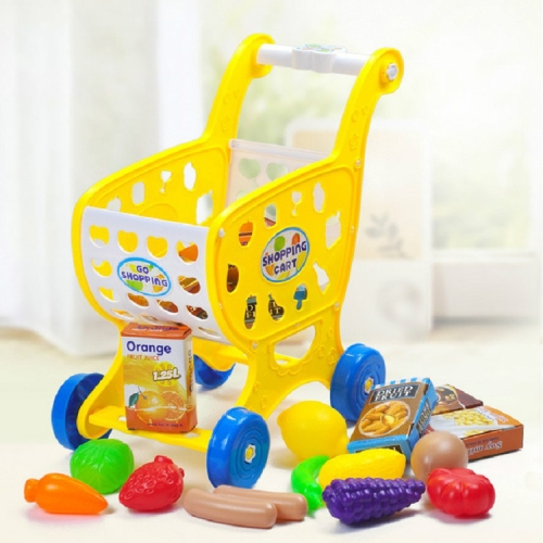Children's Shopping Cart Play House Toy with Fruit and Vegetables 19 Piece Set Puzzle Mini Trolley Toy, Color:Yellow (with Fruit)