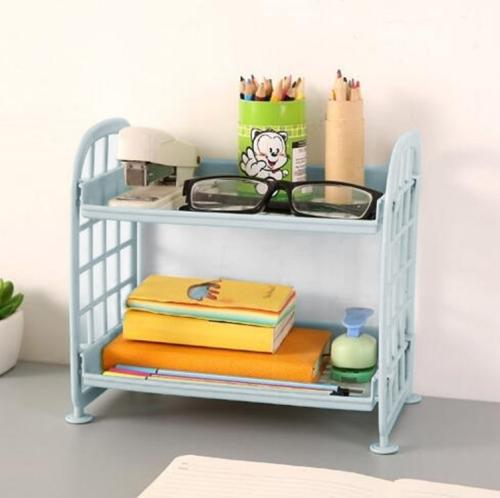 Sunsky Double Layer Bathroom Storage Racks Kitchen Countertop Spice Storage Rack Bedroom Living Room Books Sundries Storage Rack Blue