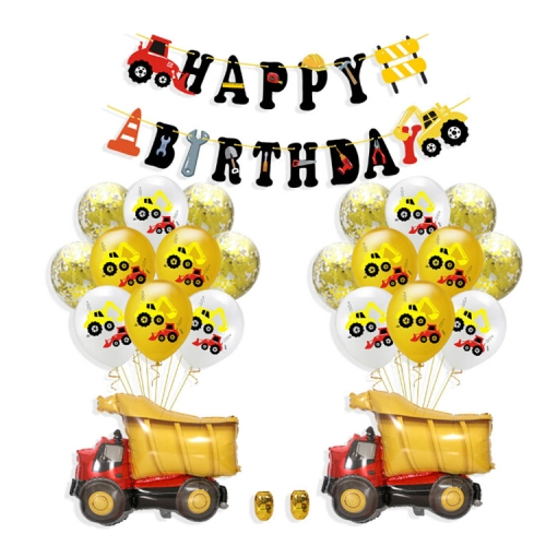 Construction Tractor Inflatable Air Balloons Birthday Excavator Vehicle Banners Baby Shower Kids Boys Birthday Party Supplies, Suit:Suit Four