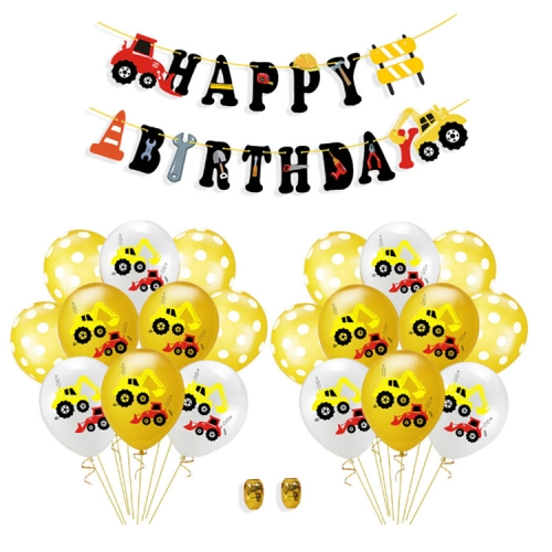 Construction Tractor Inflatable Air Balloons Birthday Excavator Vehicle Banners Baby Shower Kids Boys Birthday Party Supplies, Suit:Suit Five
