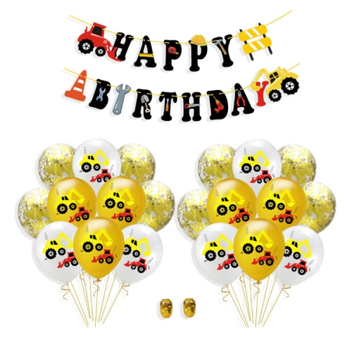 Construction Tractor Inflatable Air Balloons Birthday Excavator Vehicle Banners Baby Shower Kids Boys Birthday Party Supplies, Suit:Suit Six