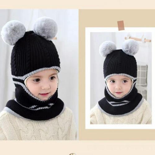 Kid Baby Unisex Hooded Scarf Caps Hat Winter Warm Soft Knit Wool Ball Hats UK