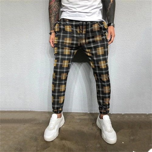 Men Casual Striped Jogging Sports Runners Fitness Ppants, Size: M(Yellow)