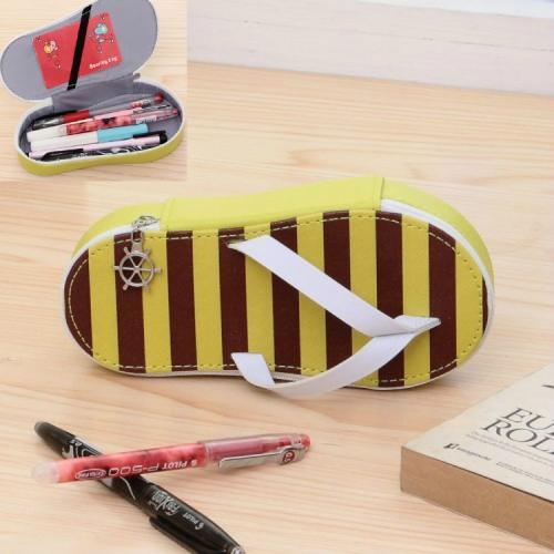 Cute Large-capacity Pencil Bag Slipper Style Pencil Case Makeup Storage Bag Yellow Stripe