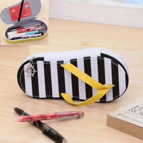 Cute Large-capacity Pencil Bag Slipper Style Pencil Case Makeup Storage Bag Black Stripe