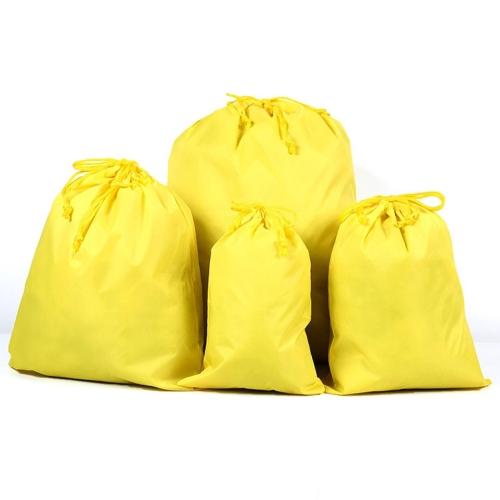 10PCS Portable Nylon Waterproof Travel Storage Bag Drawstring Beam Pocket Clothing Storage Bag, Size:27cmx34cm(Yellow)