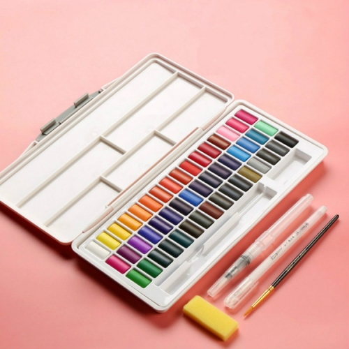 Macaron Watercolor Paint Solid Set Boxed Portable Art Supplies(Pink)