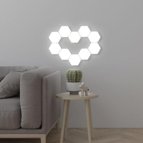 Touch Sensor Light Hive Lamp Creative Background Wall Decoration Lamp Festive Atmosphere Lights EU Plug(10-piece set with plug)
