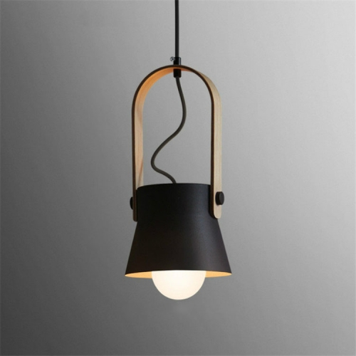 Wood Grain Creative Simple Personality Restaurant Chandelier Single Head Study Bedroom Macaron Bar Small Lamp without Light Source, Size:S(Black)