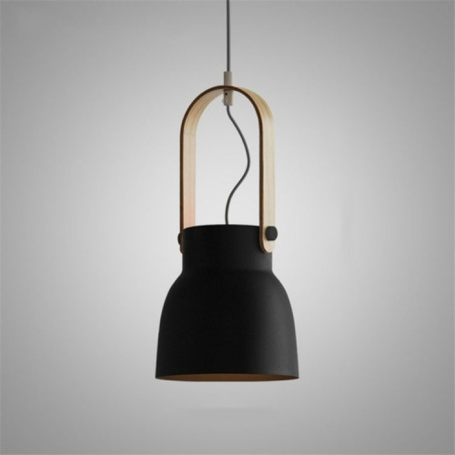 Wood Grain Creative Simple Personality Restaurant Chandelier Single Head Study Bedroom Macaron Bar Small Lamp without Light Source, Size:M(Black)