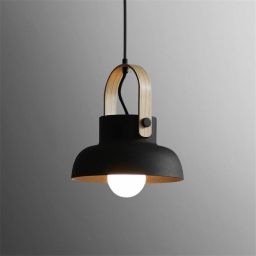 Wood Grain Creative Simple Personality Restaurant Chandelier Single Head Study Bedroom Macaron Bar Small Lamp without Light Source, Size:L(Black)
