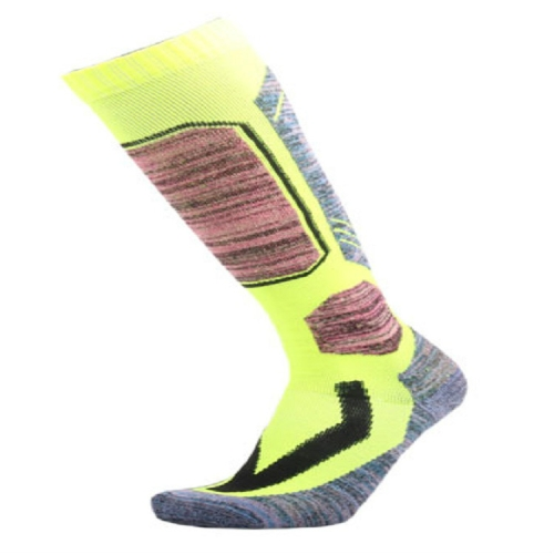 Ski Socks Outdoor Sports Thick Long Sweat-absorbent Warm Hiking Socks, Size:40-45(Fluorescent Green)