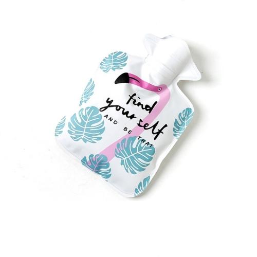 Cartoon Mini Water Injection Hot Water Bag Portable Hand Warmer, Color:White Flamingo фото