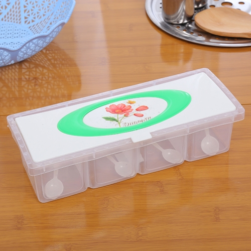 Kitchen Flower Pattern Transparent Plastic 4 Grid Spice Box with Spoon, Random Color Delivery