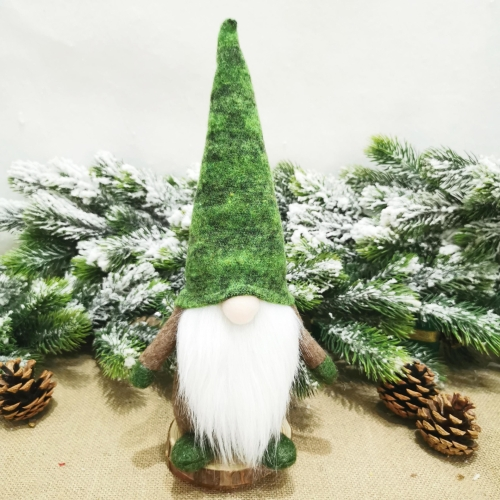 Sunsky 2 Pcs Christmas Decorations Santa Claus Ornaments Green Forest Series Faceless Doll Style Men