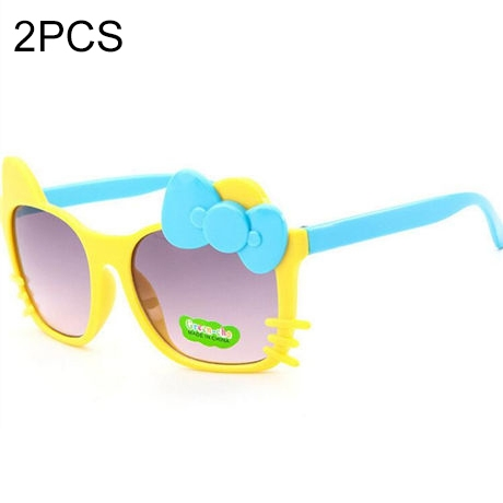 2 PCS Cute Baby Sunglasses Children Bow Eyewear Anti-UV Sunglasses(Yellow+Blue)