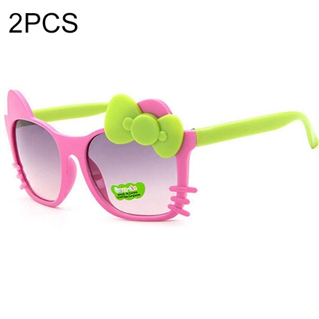 2 PCS Cute Baby Sunglasses Children Bow Eyewear Anti-UV Sunglasses(Pink+Green)