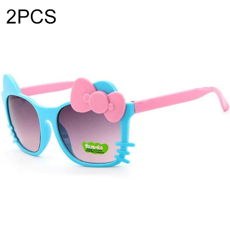 2 PCS Cute Baby Sunglasses Children Bow Eyewear Anti-UV Sunglasses(Blue+Pink)