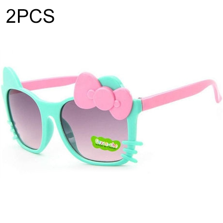 2 PCS Cute Baby Sunglasses Children Bow Eyewear Anti-UV Sunglasses(Green+Pink)