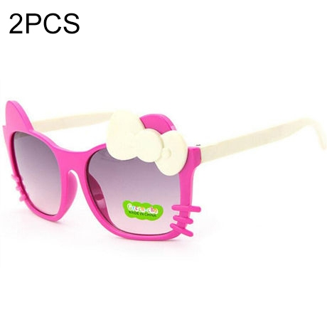 2 PCS Cute Baby Sunglasses Children Bow Eyewear Anti-UV Sunglasses(Rose Red+Beige)