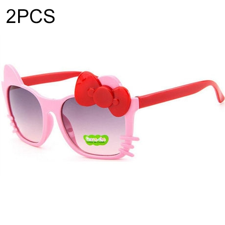 2 PCS Cute Baby Sunglasses Children Bow Eyewear Anti-UV Sunglasses(Pink+Red)