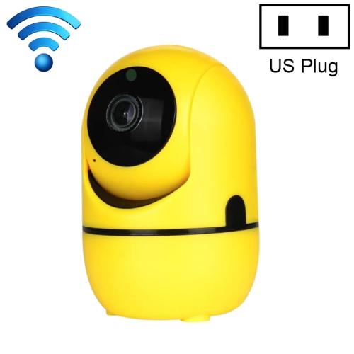 HD Cloud Wireless IP Camera Intelligent Auto Tracking Human Home Security Surveillance Network WiFi Camera, Plug Type:US Plug(1080P Yellow)