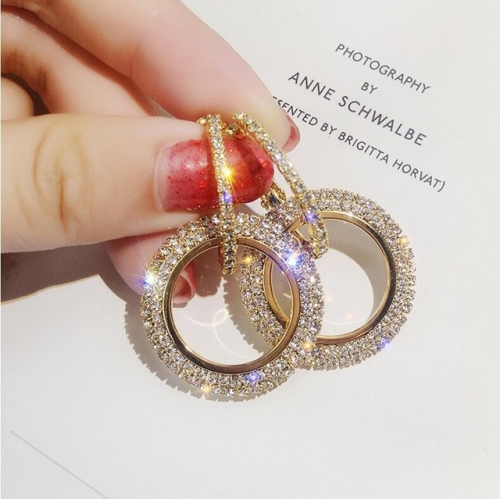 Rhinestone Crystal Earrings Round Earrings for Woman(Gold)