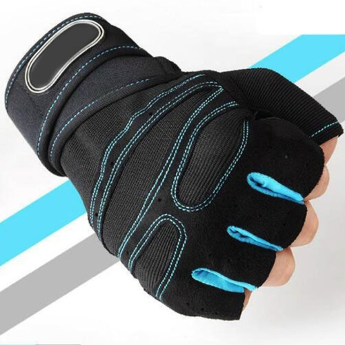 Gym Gloves Heavyweight Sports Exercise Weight Lifting Gloves Body Building Training Sport Fitness Gloves, Size:M(Sky blue)