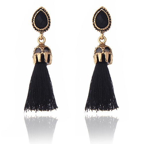 1 Pair Long Tassel Earrings for Women Fashion Jewelry Gifts(Black)