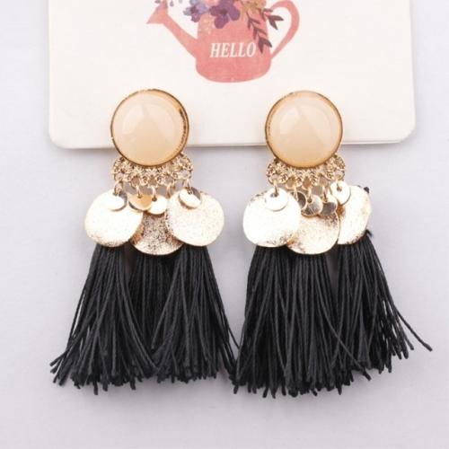 Ethnic Bohemia Women Dangle Drop Earrings Round Resin Tassel Earrings(Black)