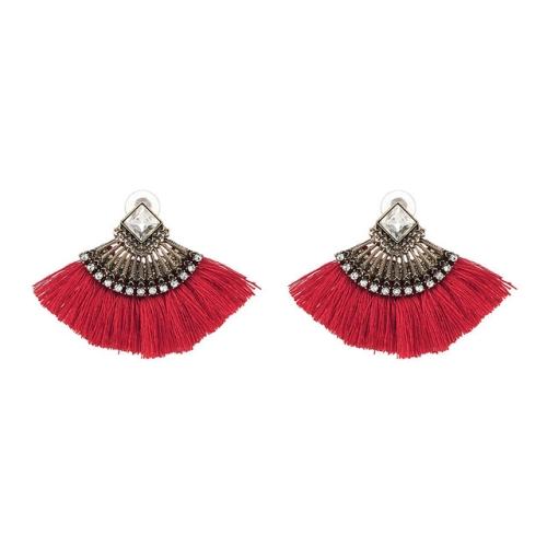 Women Earrings Accessories Fan Shaped Handmade Tassels Fringed Earrings Ethnic Jewelry(Red)