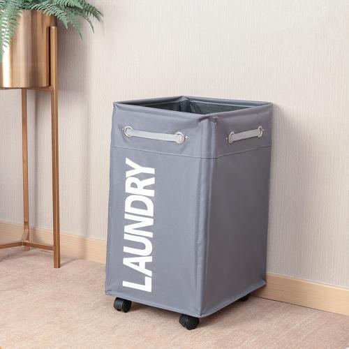 Bathroom Oxford Waterproof Dirty Clothes Laundry Foldable Storage Basket Hamper with Wheels(Dark Grey)
