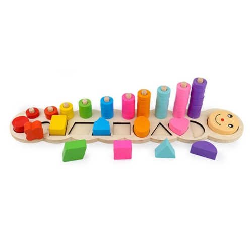 Children Wooden Learning Count Numbers Matching Shape Early Teaching Math Toy