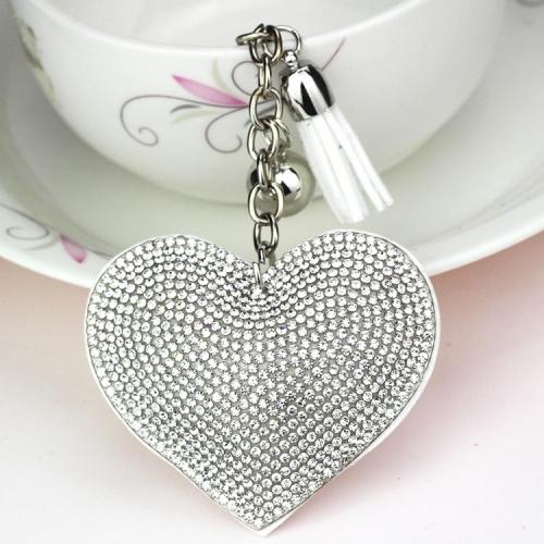 SUNSKY - 2 PCS Heart Keychain Leather Tassel Gold Key Holder Metal