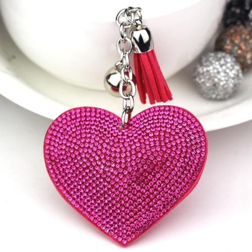 2 PCS Heart Keychain Leather Tassel Gold Key Holder Metal Crystal Key Chain Keyring Charm Bag Auto Pendant Gift(magenta)