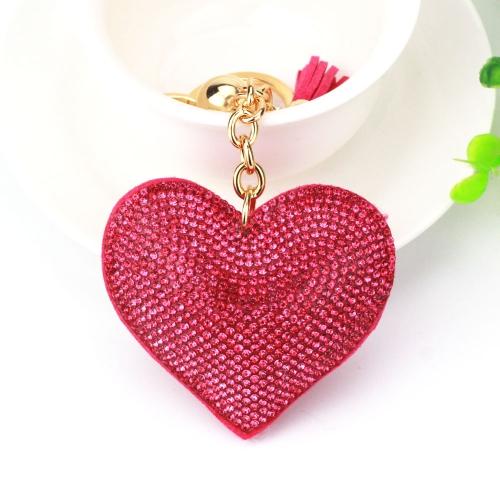 2 PCS Heart Keychain Leather Tassel Gold Key Holder Metal Crystal Key Chain Keyring Charm Bag Auto Pendant Gift(wine red)