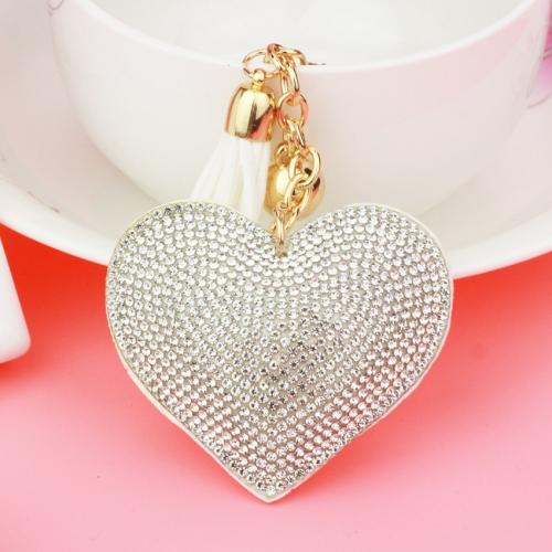 2 PCS Heart Keychain Leather Tassel Gold Key Holder Metal Crystal Key Chain Keyring Charm Bag Auto Pendant Gift(white)
