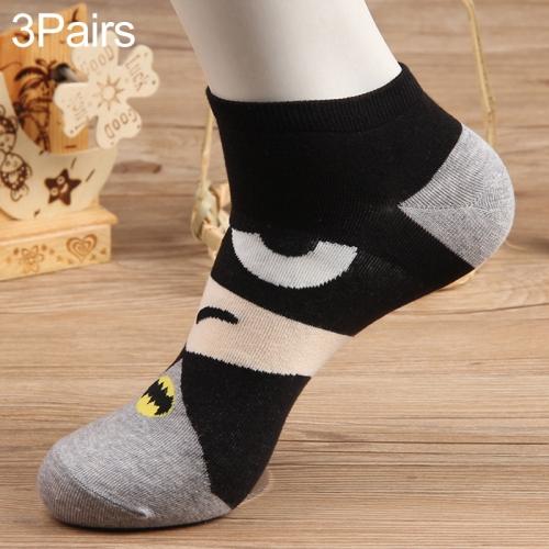 3 Pairs Cotton Cartoon Pattern Summer Trend Men Socks Boat Socks(Gray Black)