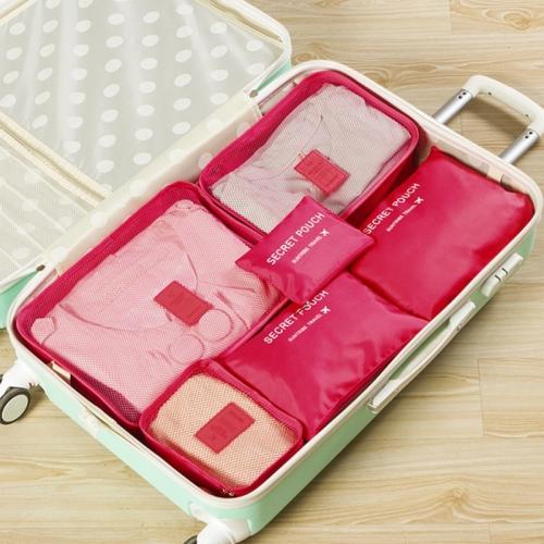 6 PCS/Set Travel Bag ClothesLuggage Organizer High Capacity Mesh Packing Cubes(Rose red)