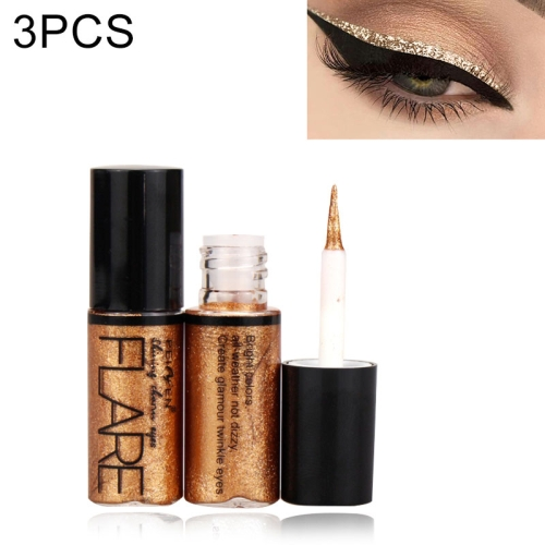 3 PCS Professional Shiny Eye Liners Cosmetics for Women Pigment Color Liquid Glitter Eyeliner(Brown)