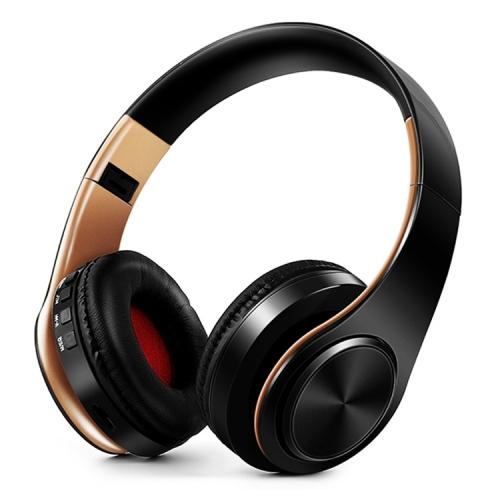 Headphones Bluetooth Headset Earphone Wireless Headphones Stereo Foldable Sport Earphone Microphone Headset Handfree MP3 Player(Gold Black)