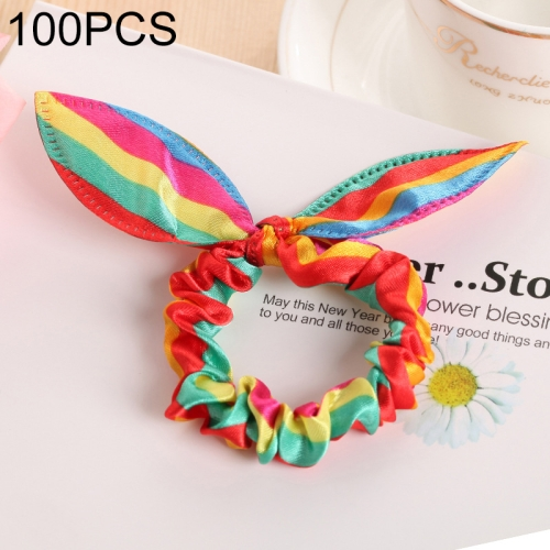 100 PCS Rabbit Ears Hair Band Kids Hair Accessories Elastic Hairband Girl Rubber Band Polka Dot Hairline(Rainbow )