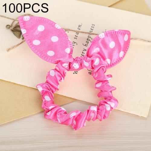 100 PCS Rabbit Ears Hair Band Kids Hair Accessories Elastic Hairband Girl Rubber Band Polka Dot Hairline(Watermelon Red Dot )