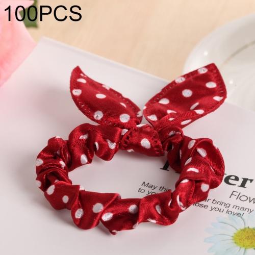100 PCS Rabbit Ears Hair Band Kids Hair Accessories Elastic Hairband Girl Rubber Band Polka Dot Hairline(Wine Red)
