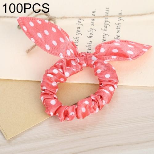 100 PCS Rabbit Ears Hair Band Kids Hair Accessories Elastic Hairband Girl Rubber Band Polka Dot Hairline(Pink Dot)