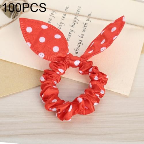 100 PCS Rabbit Ears Hair Band Kids Hair Accessories Elastic Hairband Girl Rubber Band Polka Dot Hairline(Red Dot)