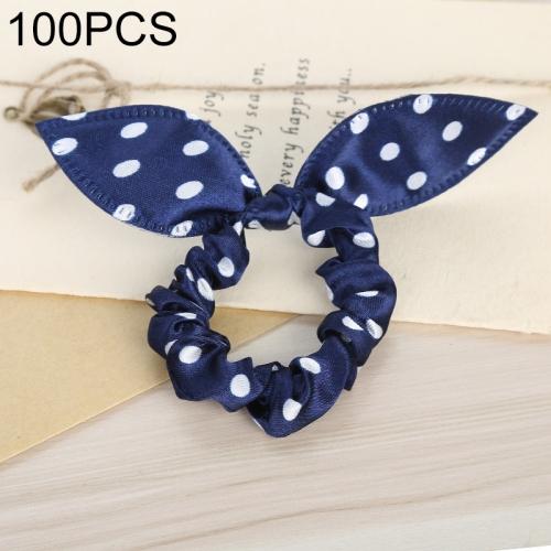 100 PCS Rabbit Ears Hair Band Kids Hair Accessories Elastic Hairband Girl Rubber Band Polka Dot Hairline(Dark Blue Dot)