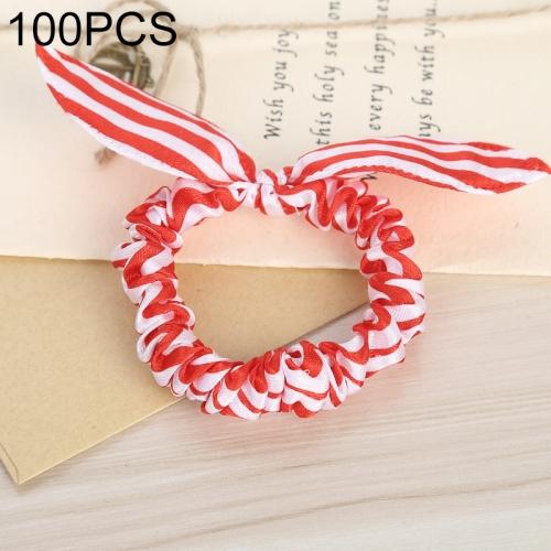 100 PCS Rabbit Ears Hair Band Kids Hair Accessories Elastic Hairband Girl Rubber Band Polka Dot Hairline(Red white )