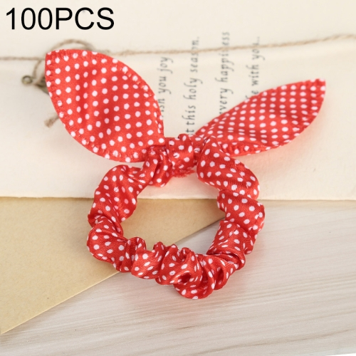 100 PCS Rabbit Ears Hair Band Kids Hair Accessories Elastic Hairband Girl Rubber Band Polka Dot Hairline(Red Little Dot)